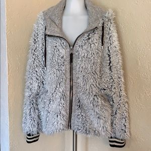 Free People lined, fur jacket coat with hood